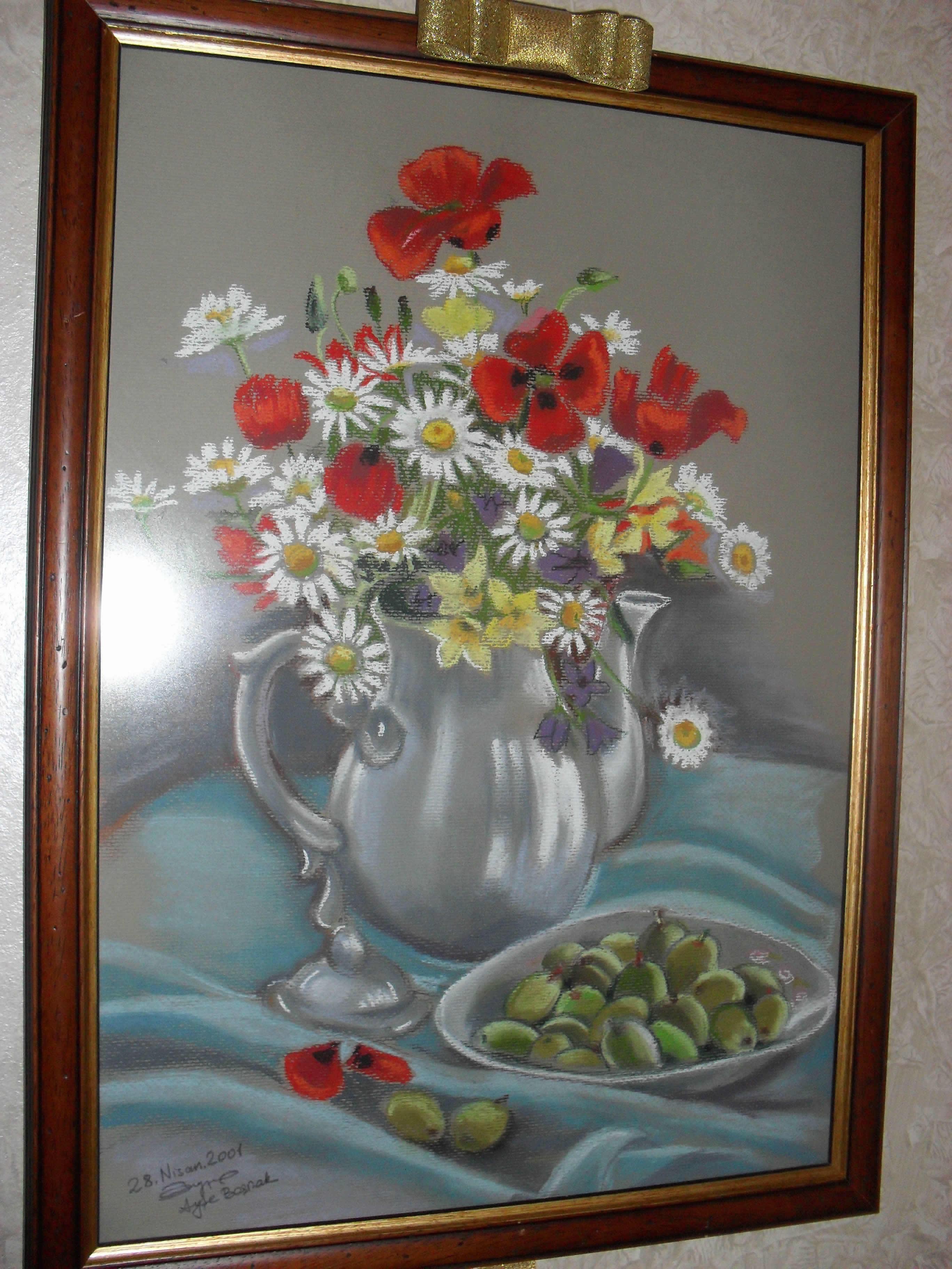 çiçekli natürmort