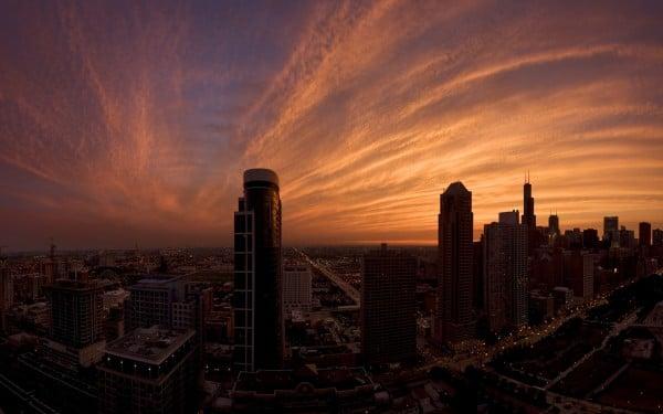 Şehir gün batımı
