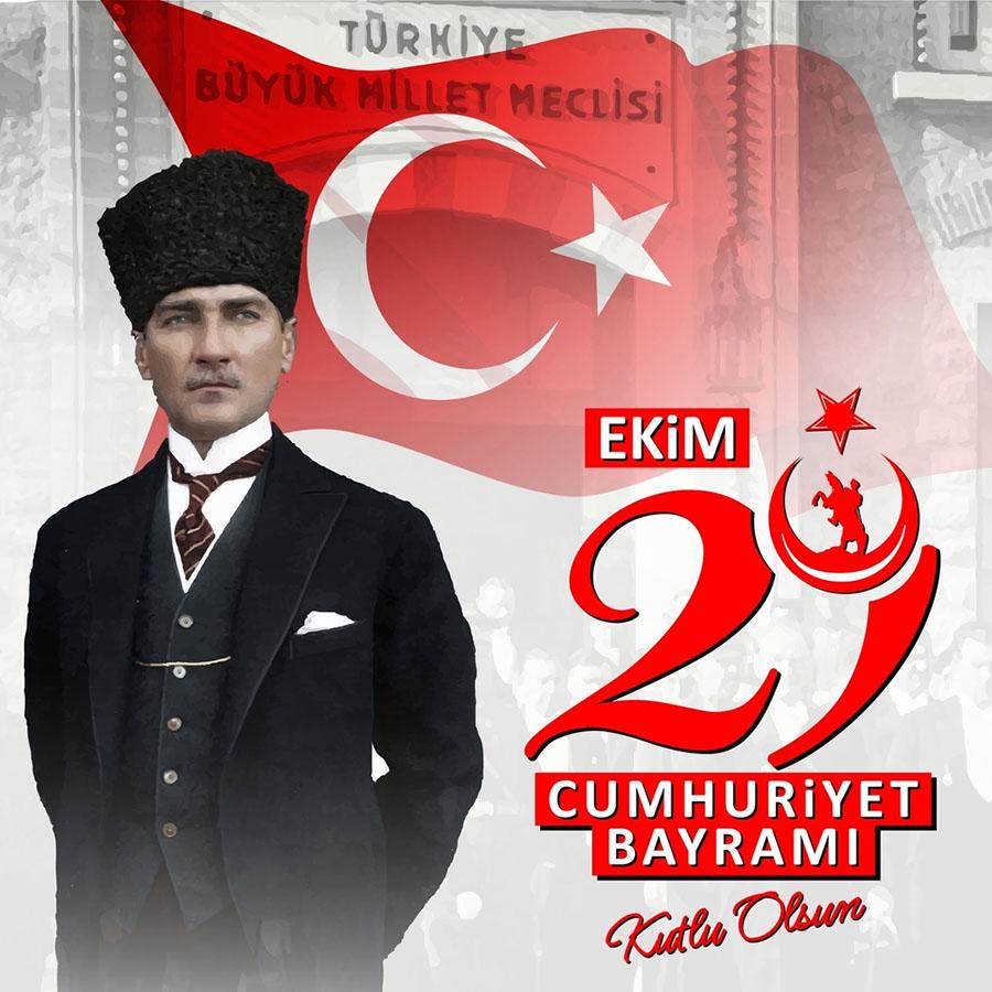 Atatürk ve Cumhuriyet Bayramı Resmi (Mesajlı)