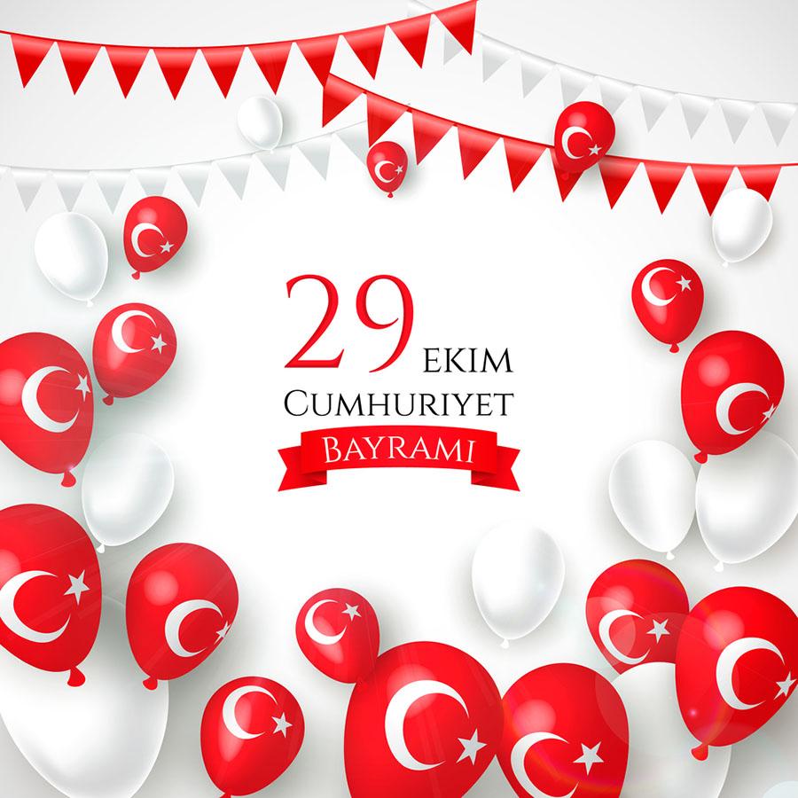 Beyaz Türkiye Bayrağı Logolu 29 Ekim Resimleri