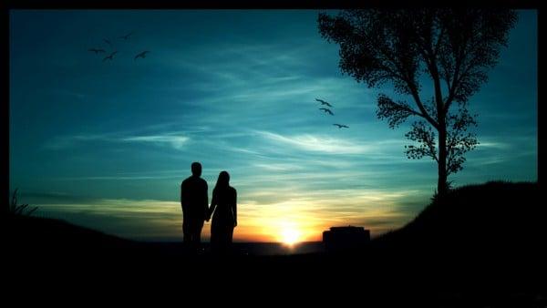 Gün batımında romantizm
