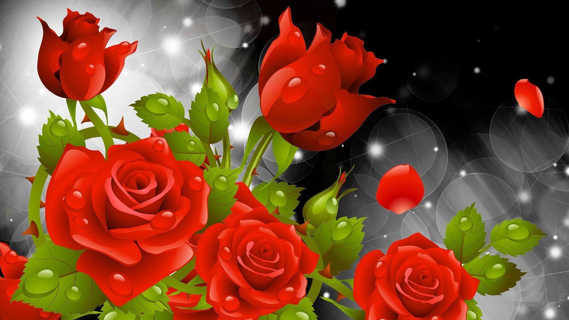 Grafikli Kırmızı Güller
