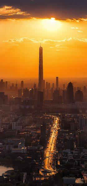 Şehirde Gün Batımı Manzarası