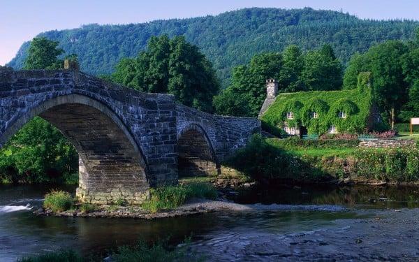 Taş köprü ve yeşil ev
