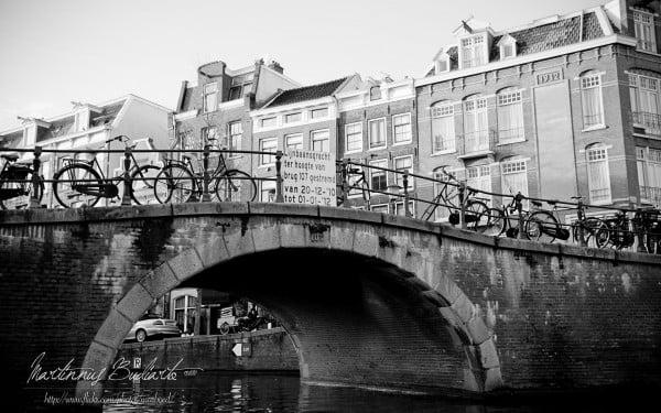 Amsterdam siyah beyaz manzara