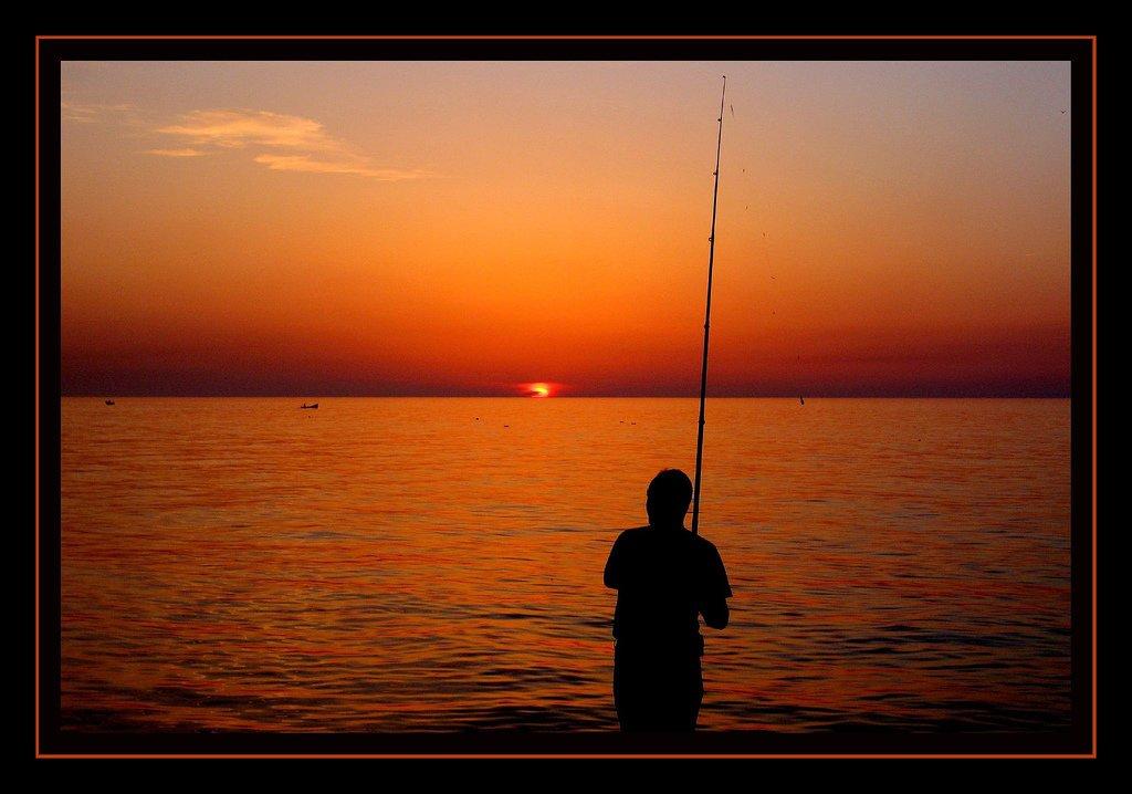 balıkçı ve gün batımı