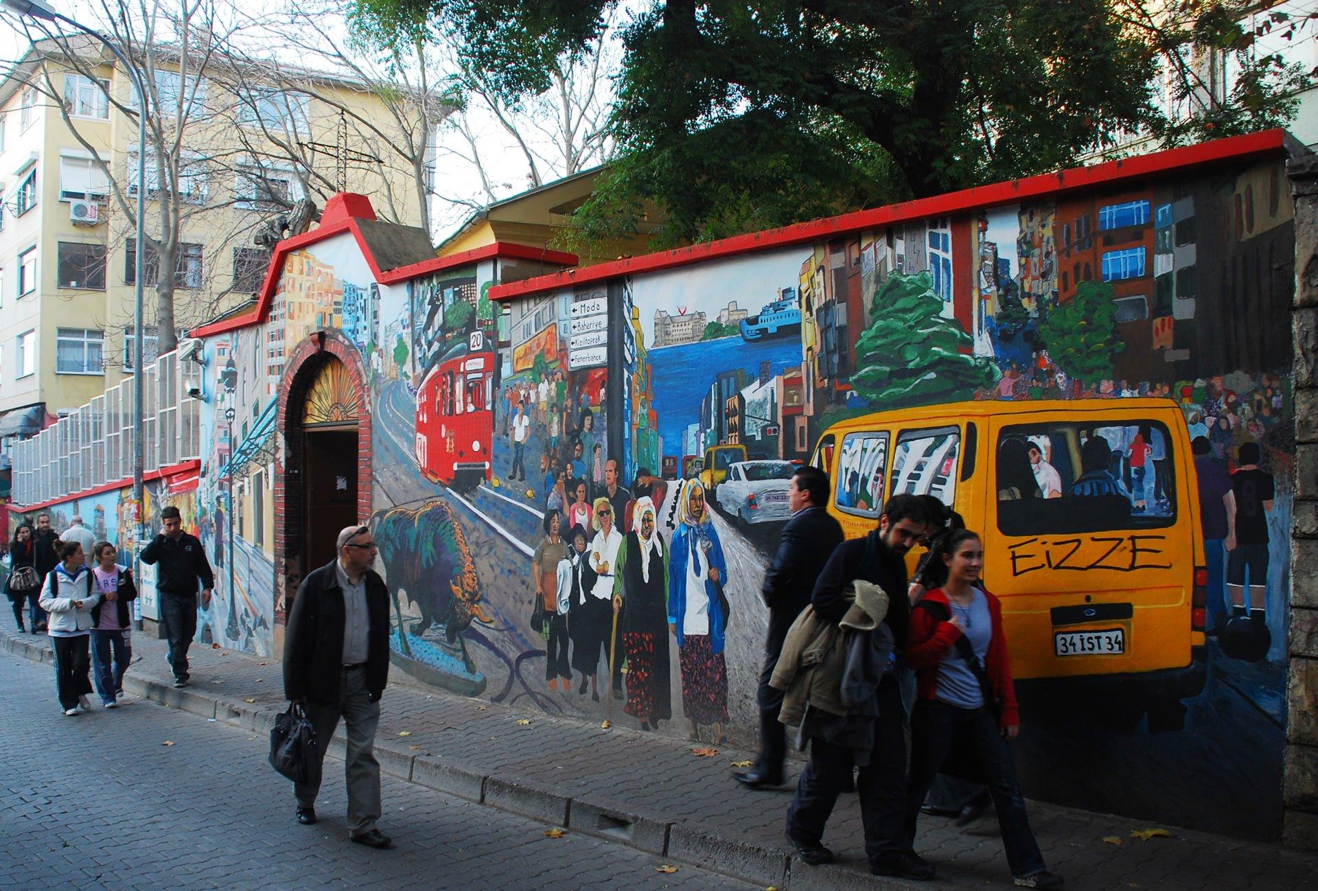 cadde görünümlü duvar