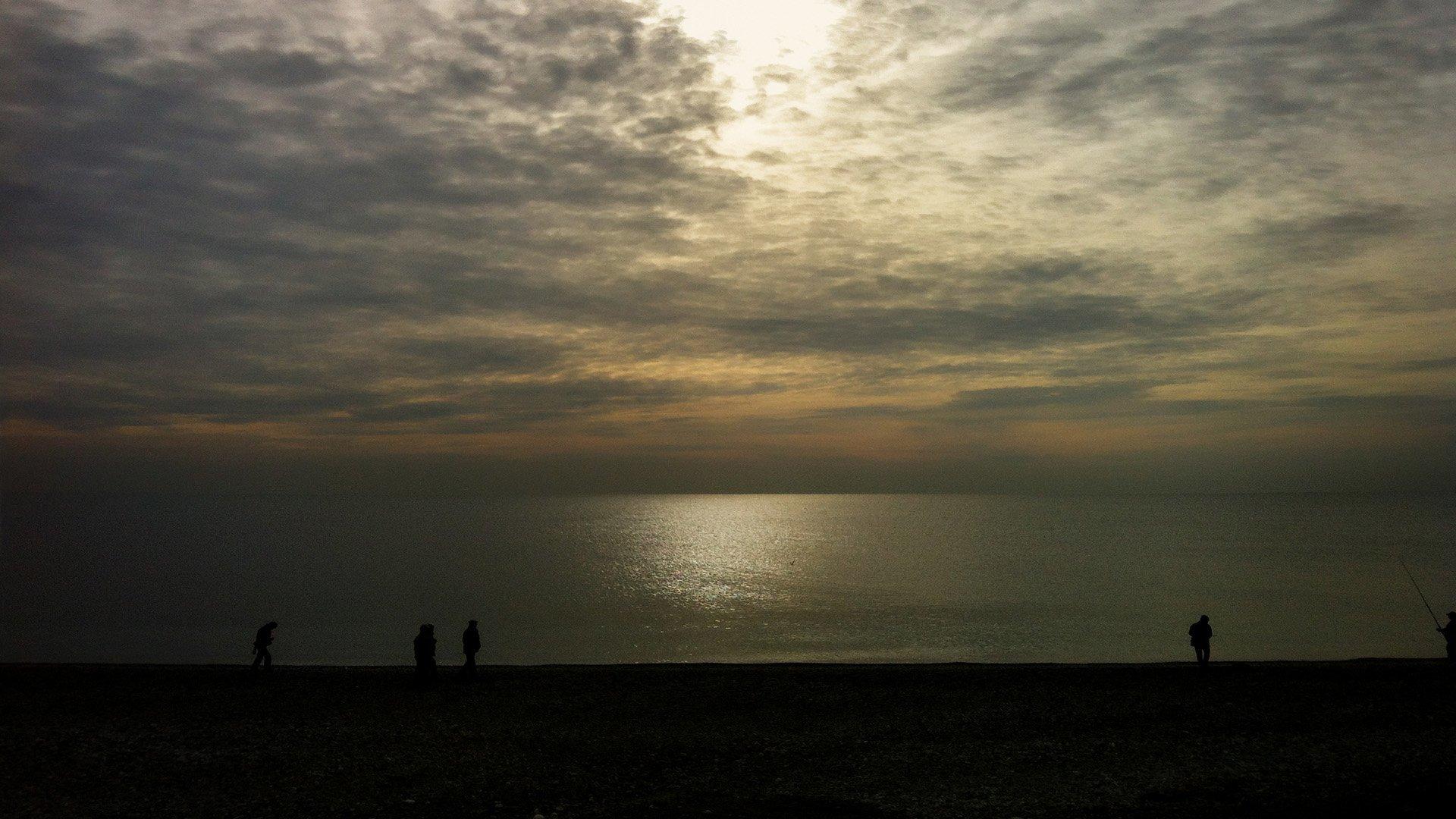 gün batımı ve insanlar