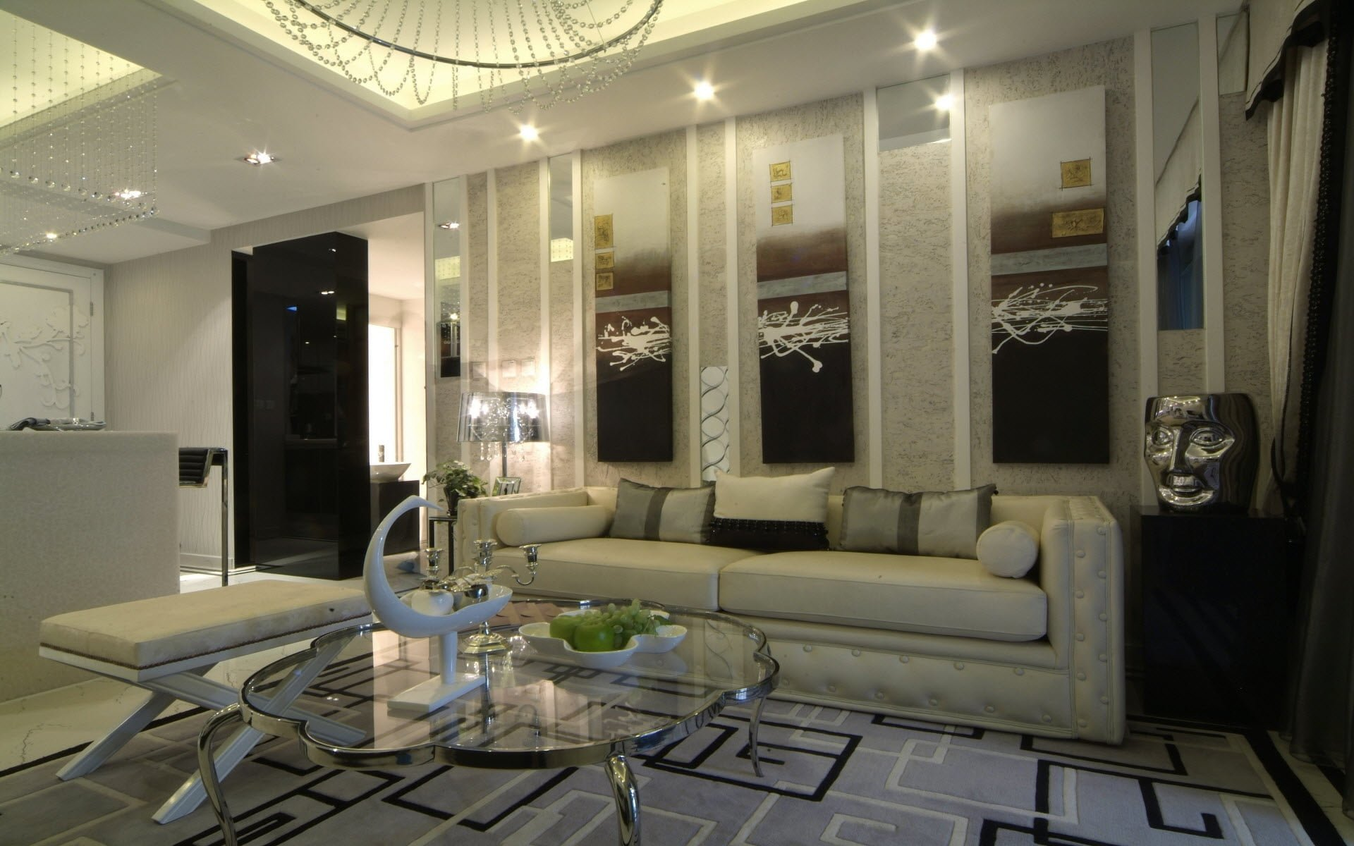 I dekorasyon 9 manzara resimleri - Luxurious interior design with modern glass and modular metallic theme ...