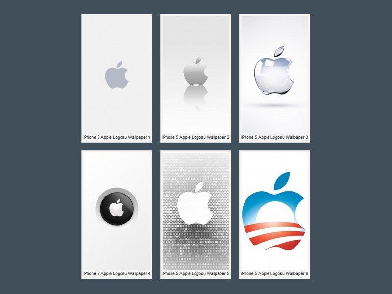iPhone 5 Parlak Apple Logoları Wallpaper