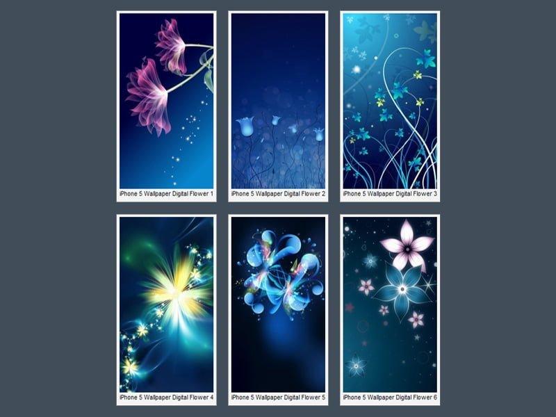 iPhone 5 Digital Çiçekler Wallpaper