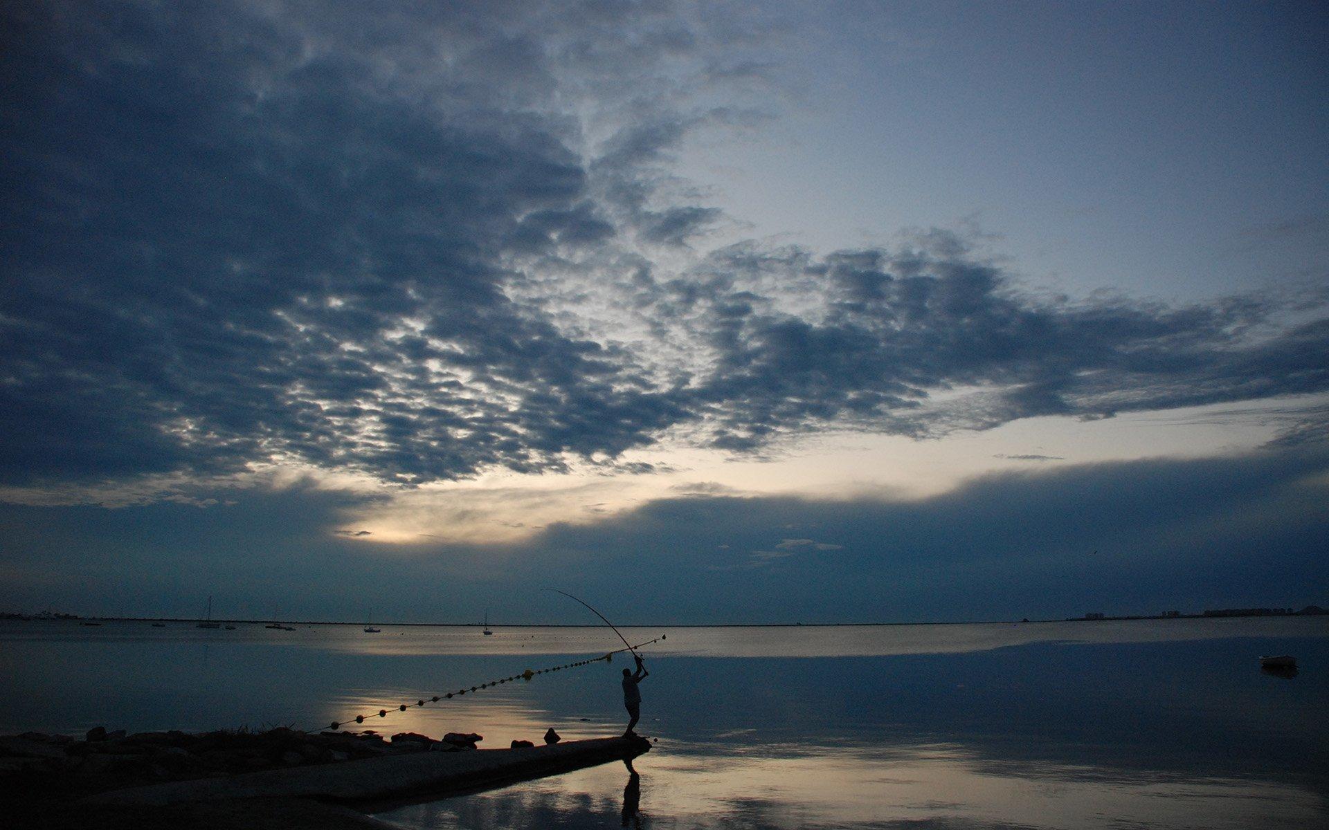 ispanya gün batımı ve balıkçı