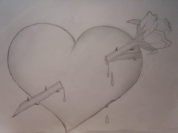 kalp ve gül karakalem
