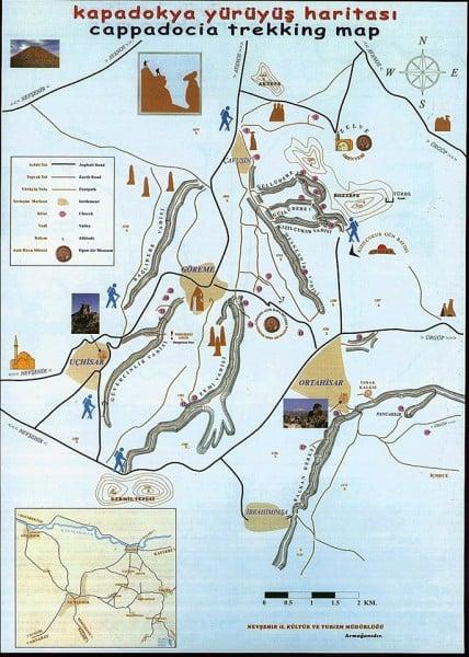 kapadokya yürüyüş haritası