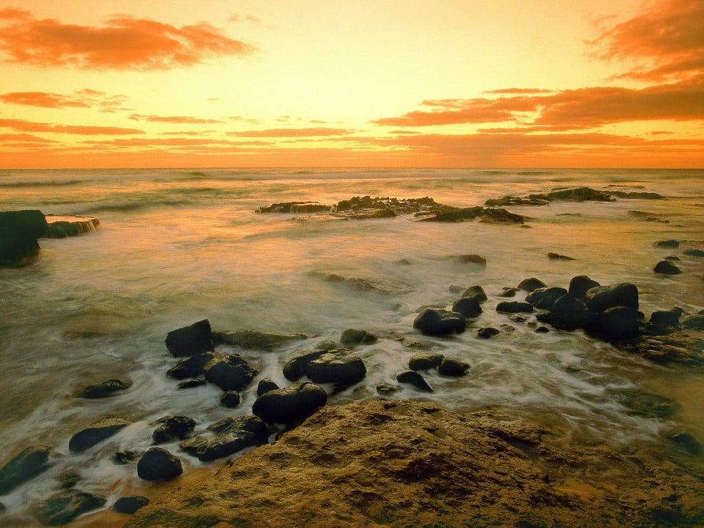 Hawaii Denizde Gün Batımı