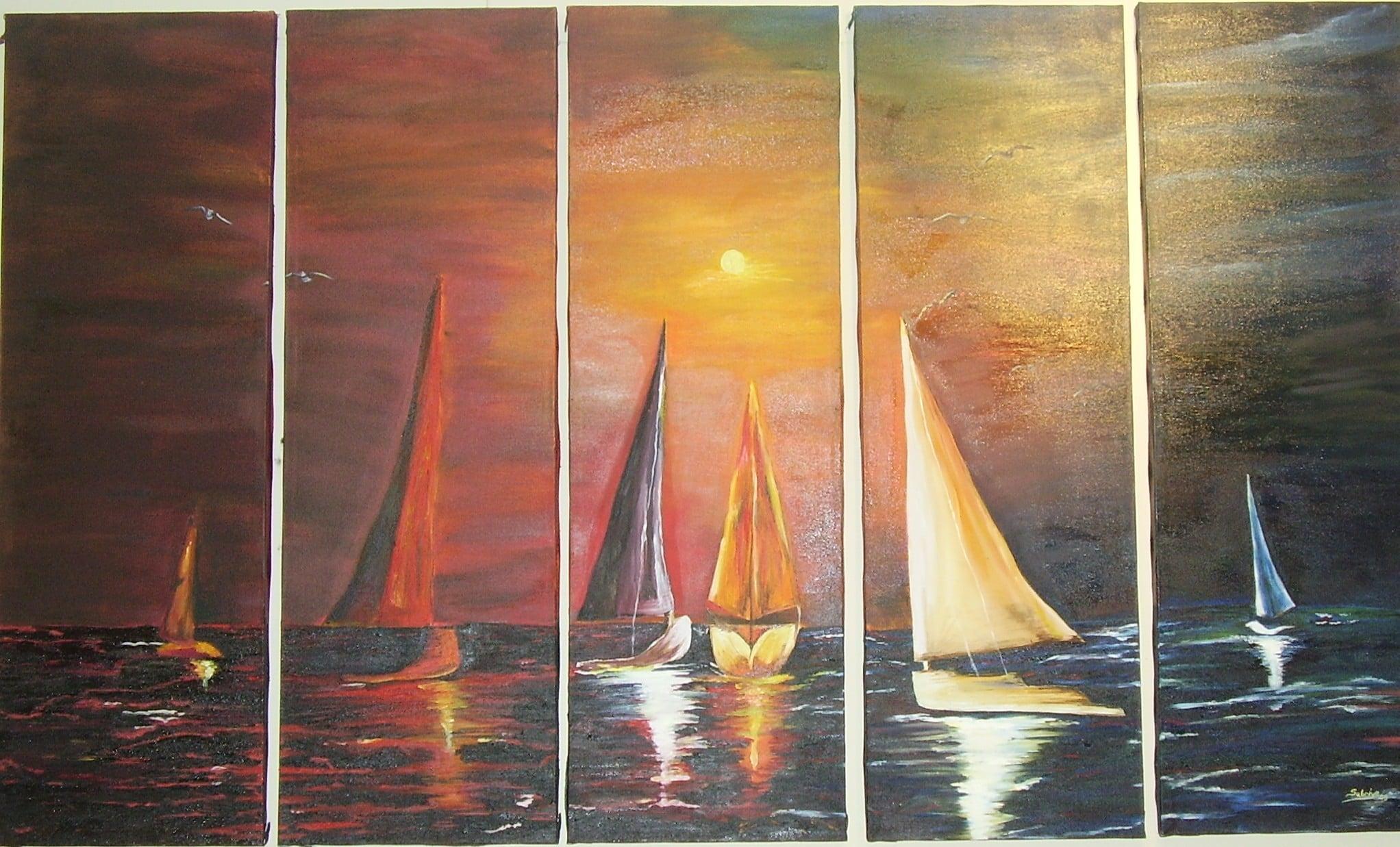 5 parçalı deniz ve yelkenli
