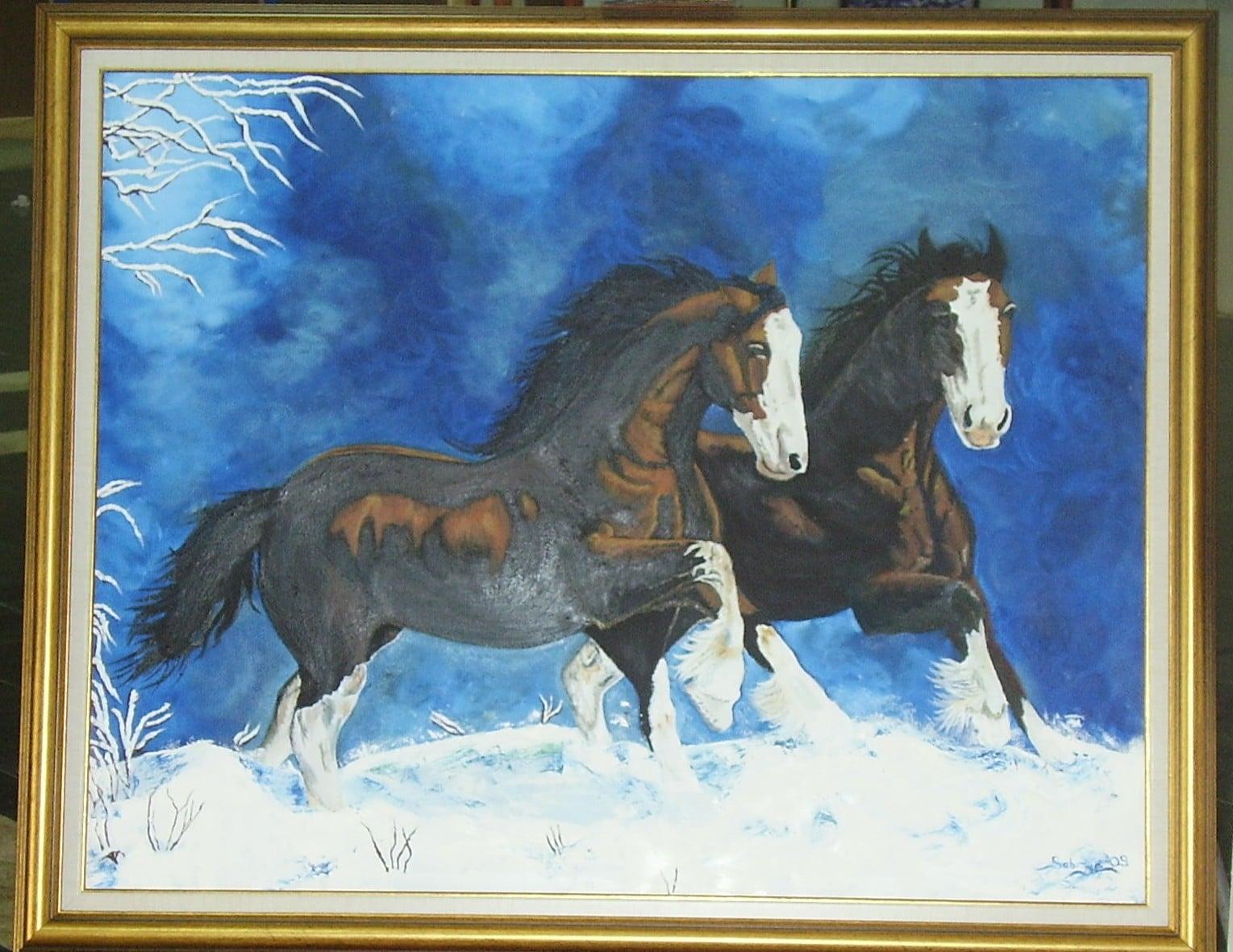 Kardan Koşan Atlar Yağlı Boya