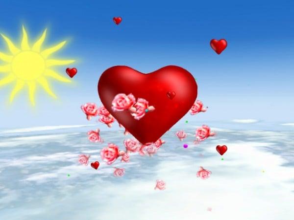 sarı güneş ve kırmızı kalp