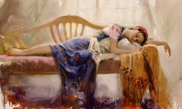 uyuyan prenses yağlıboya