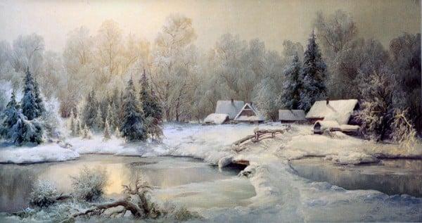 yağlı boya kar resmi
